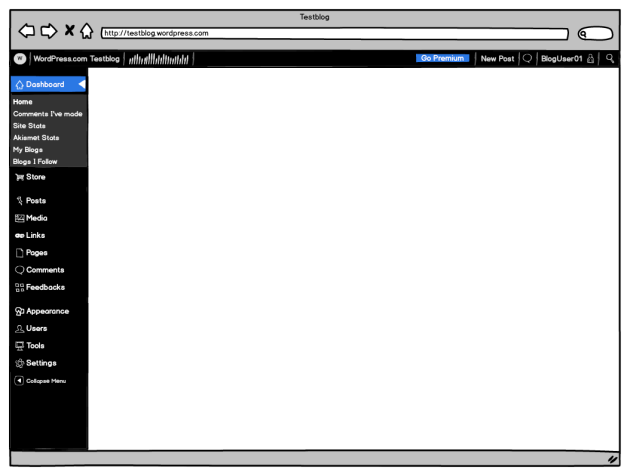 WordPress.com Dashboard Mockup