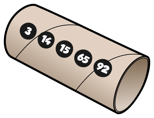 Leere Klorolle mit Zahlen