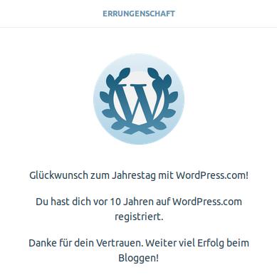 Zehnter Jahrestag auf WordPress.com