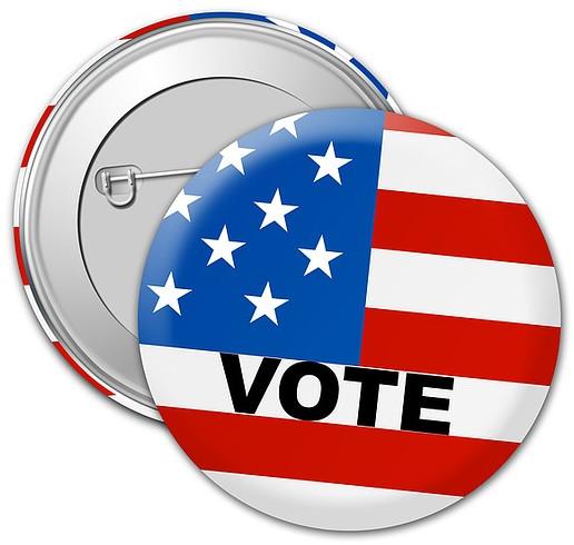 """Ansteck-Button mit der Aufschrift """"Vote"""""""