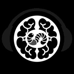 Kopfhöher um Gehirn mit Ohrwurm