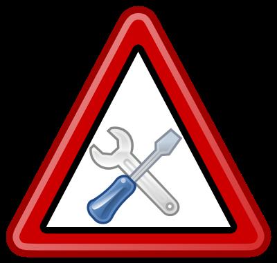 schild mit schraubenschlüssel und schraubenzieher