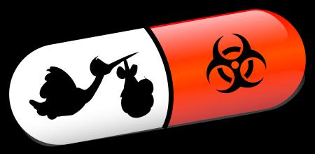 Pille mit Klapperstorch und Biohazardsymbol