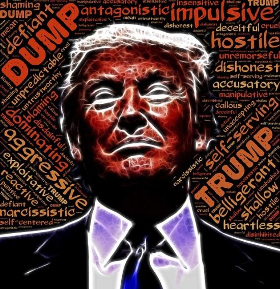Donald Trump mit wenig schmeichelhafter Wortwolke